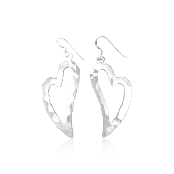 E-1525 Hammered Finish Open Heart French Wire Earrings | Teeda