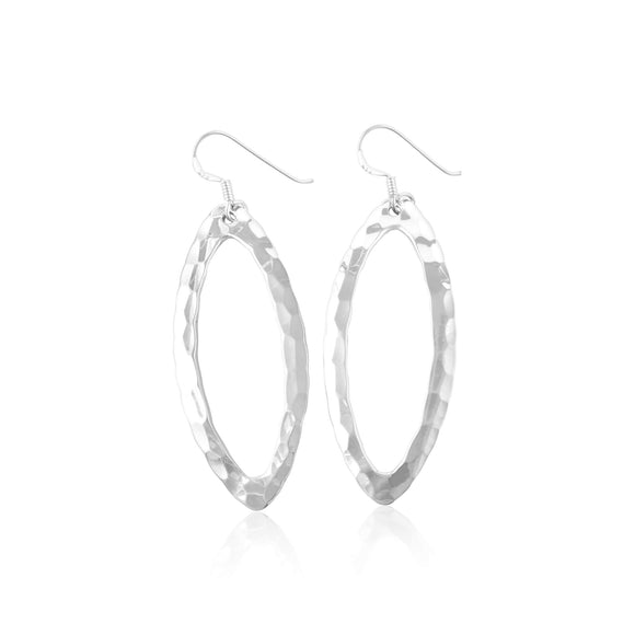 E-1526 Hammered Finish Open Marquise French Wire Earrings | Teeda