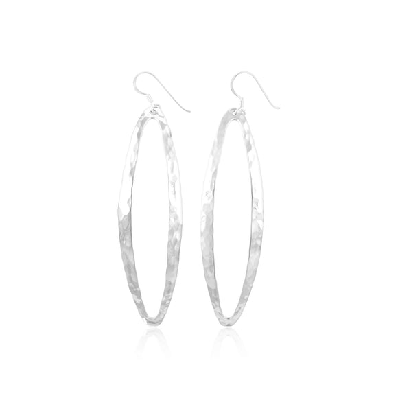 E-1528 Hammered Finish Open Marquise French Wire Earrings | Teeda