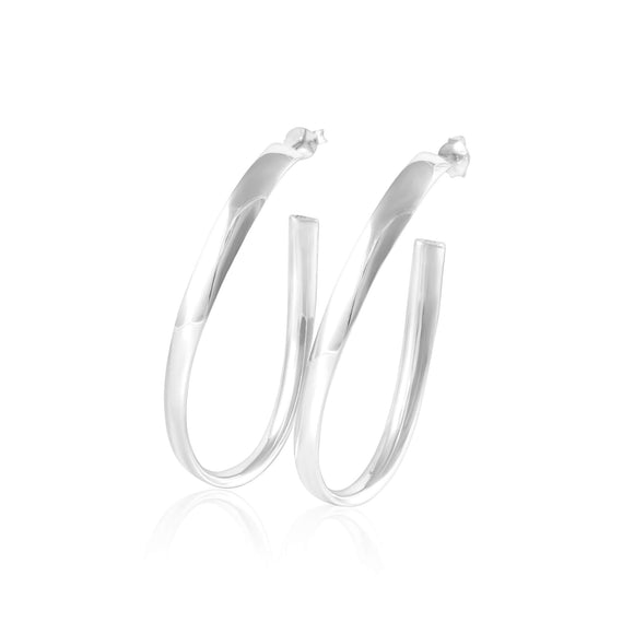 E-1534 Oval Wave Hoop Post Earrings