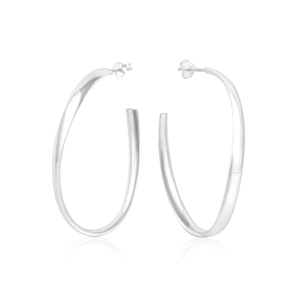 E-1534 Oval Wave Hoop Post Earrings | Teeda