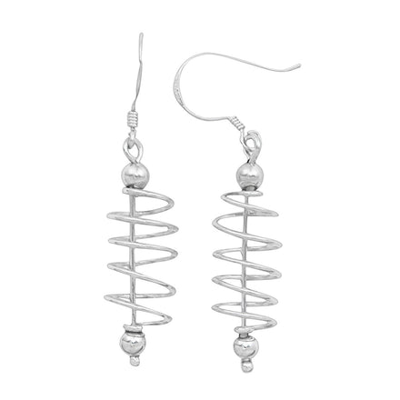 E-1890 Bar Spiral Dangle Earrings | Teeda