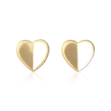 E-7002 Heart Stud Earrings - Gold Plated | Teeda