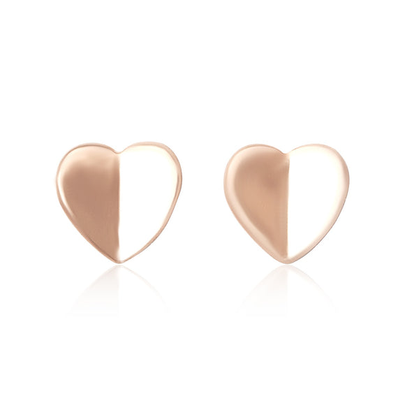 E-7002 Heart Stud Earrings - Rose Gold Plated | Teeda
