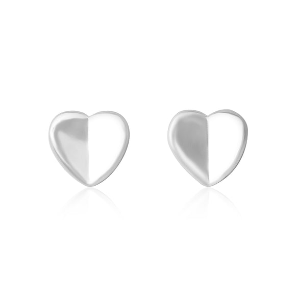 E-7002 Heart Stud Earrings - Rhodium Plated | Teeda