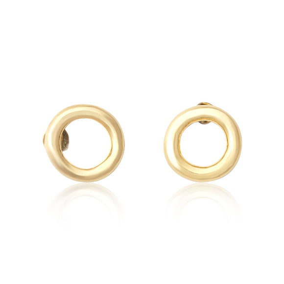 E-7005 Round Loop Stud Earrings - Gold Plated | Teeda