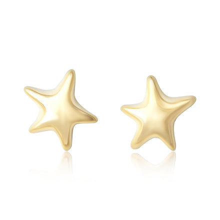 E-7006 Puffy Star Stud Earrings - Gold Plated | Teeda