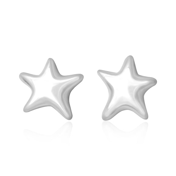 E-7006 Puffy Star Stud Earrings - Rhodium Plated | Teeda