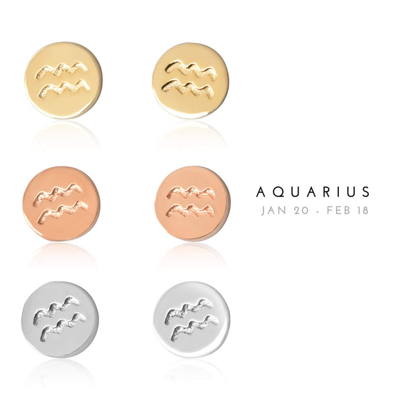 E-7008 Aquarius Zodiac Disc Stud Earrings | Teeda