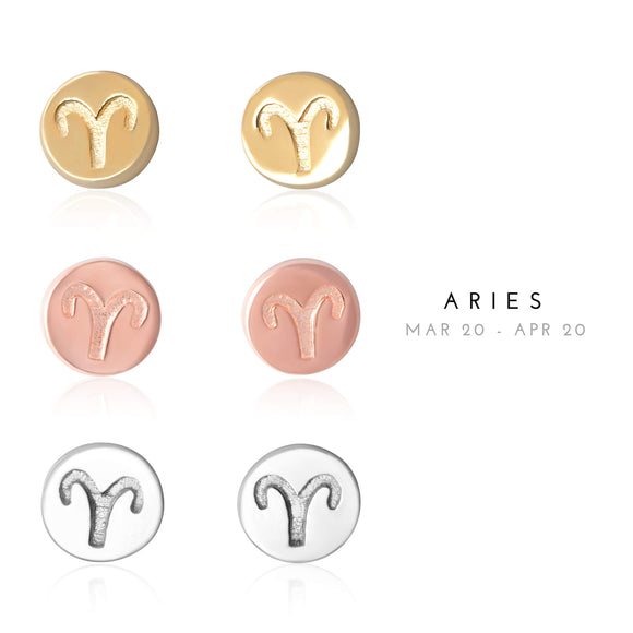 E-7008 Aries Zodiac Disc Stud Earrings | Teeda