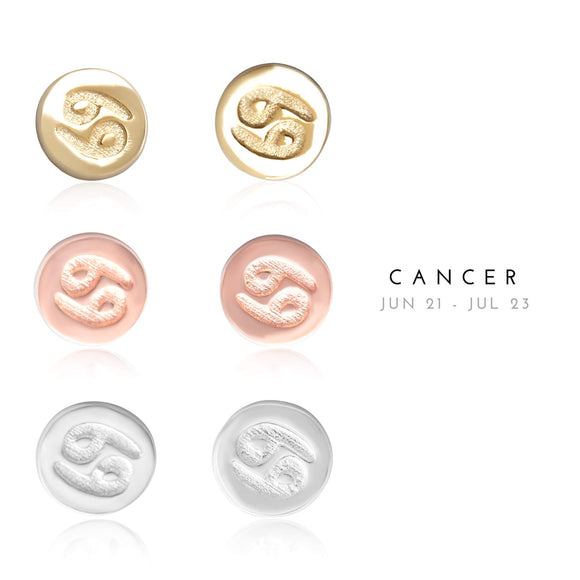 E-7008 Cancer Zodiac Disc Stud Earrings | Teeda