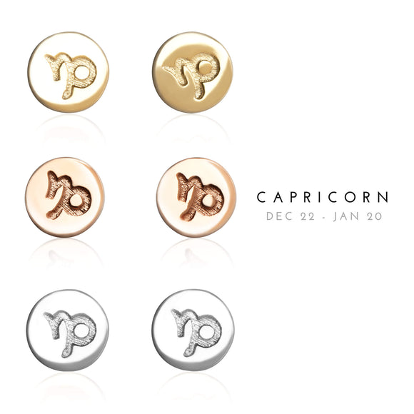 E-7008 Capricorn Zodiac Disc Stud Earrings | Teeda