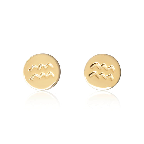 E-7008 Zodiac Disc Stud Earrings - Gold Plated - Aquarius | Teeda