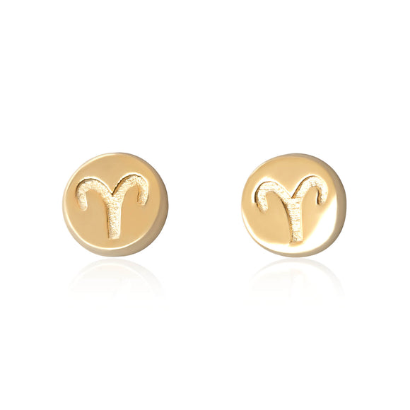E-7008 Zodiac Disc Stud Earrings - Gold Plated - Aries | Teeda