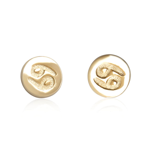 E-7008 Zodiac Disc Stud Earrings - Gold Plated - Cancer | Teeda