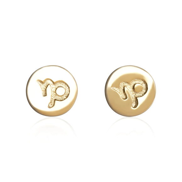 E-7008 Zodiac Disc Stud Earrings - Gold Plated - Capricorn | Teeda