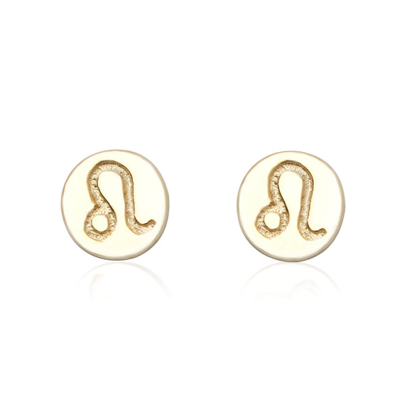 E-7008 Zodiac Disc Stud Earrings - Gold Plated - Leo | Teeda