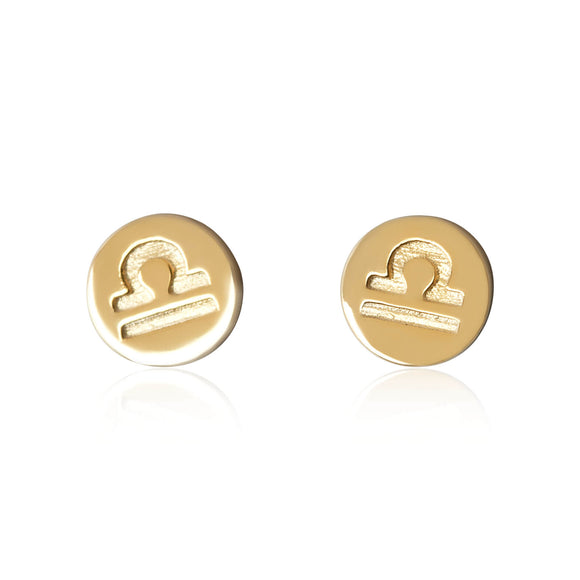 E-7008 Zodiac Disc Stud Earrings - Gold Plated - Libra | Teeda