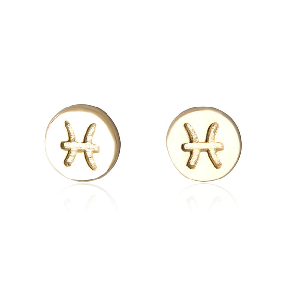 E-7008 Zodiac Disc Stud Earrings - Gold Plated - Pisces | Teeda