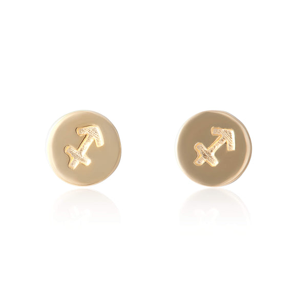 E-7008 Zodiac Disc Stud Earrings - Gold Plated - Sagittarius | Teeda