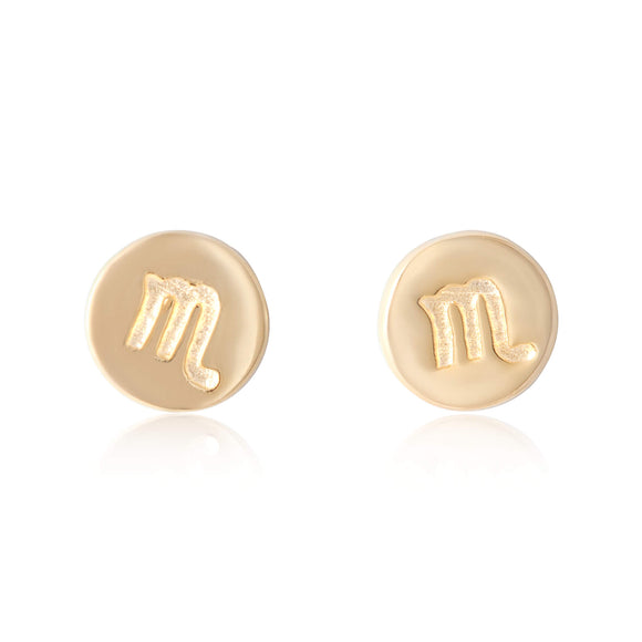 E-7008 Zodiac Disc Stud Earrings - Gold Plated - Scorpio | Teeda