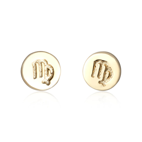 E-7008 Zodiac Disc Stud Earrings - Gold Plated - Virgo | Teeda