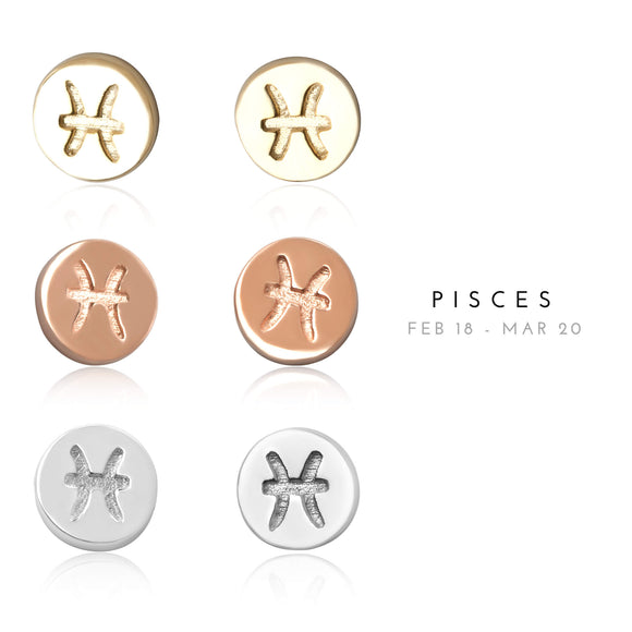 E-7008 Pisces Zodiac Disc Stud Earrings | Teeda