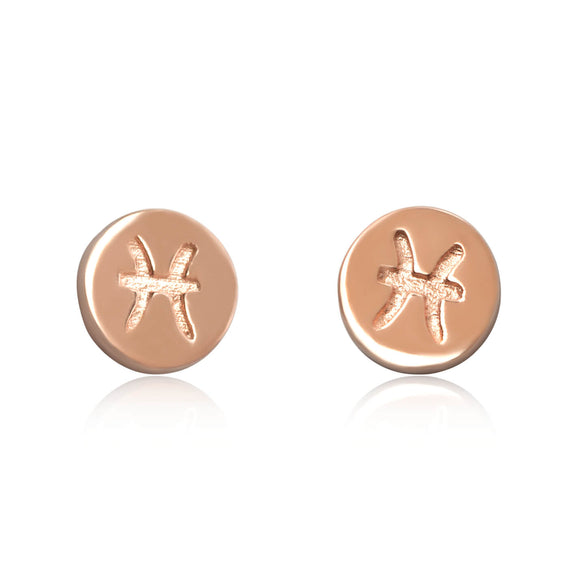 E-7008 Zodiac Disc Stud Earrings - Rose Gold Plated - Pisces | Teeda