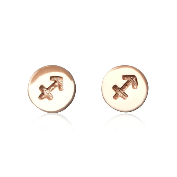 E-7008 Zodiac Disc Stud Earrings - Rose Gold Plated - Sagittarius | Teeda