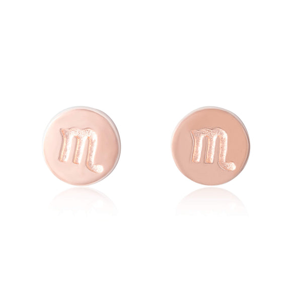 E-7008 Zodiac Disc Stud Earrings - Rose Gold Plated - Scorpio | Teeda