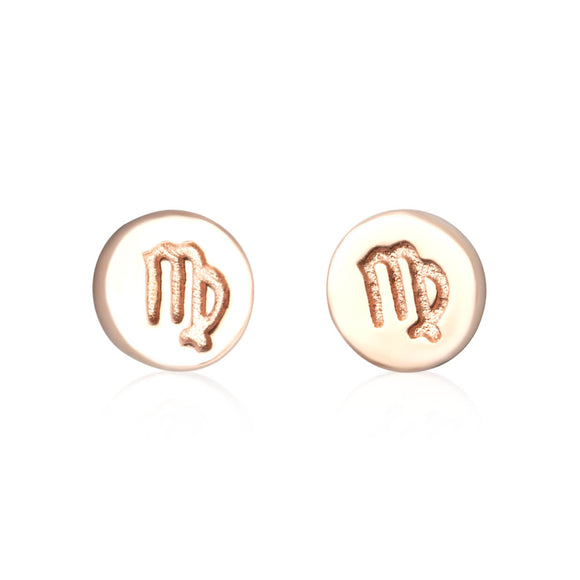 E-7008 Zodiac Disc Stud Earrings - Rose Gold Plated - Virgo | Teeda