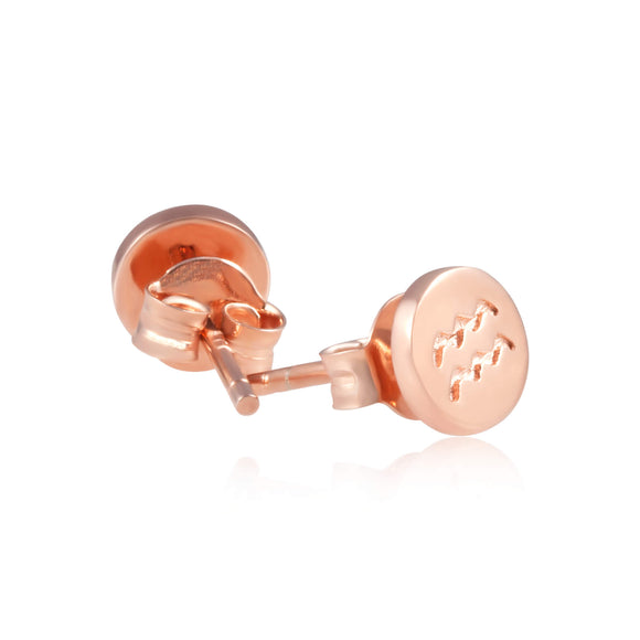 E-7008 Zodiac Disc Stud Earrings - Rose Gold Plated | Teeda
