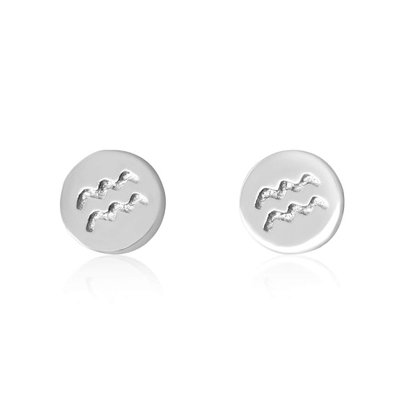 E-7008 Zodiac Disc Stud Earrings - Rhodium Plated - Aquarius | Teeda