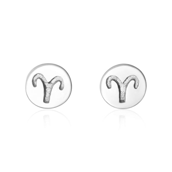 E-7008 Zodiac Disc Stud Earrings - Rhodium Plated - Aries | Teeda