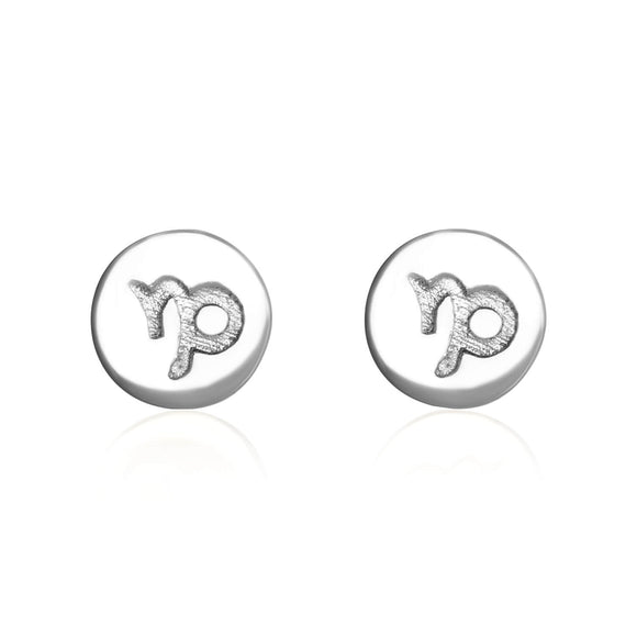 E-7008 Zodiac Disc Stud Earrings - Rhodium Plated - Capricorn | Teeda