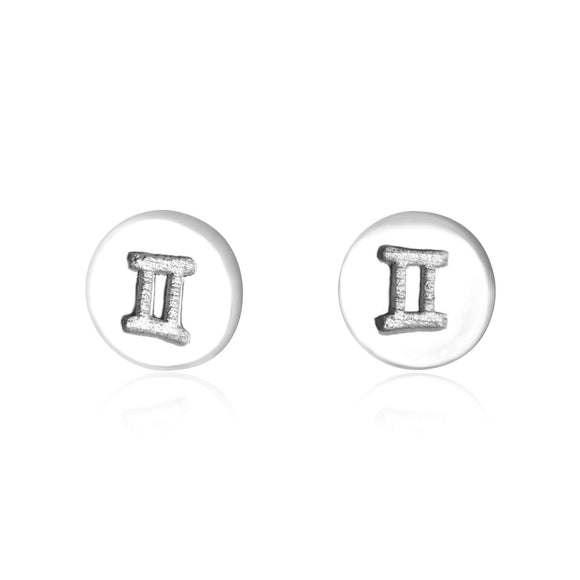 E-7008 Zodiac Disc Stud Earrings - Rhodium Plated - Gemini | Teeda