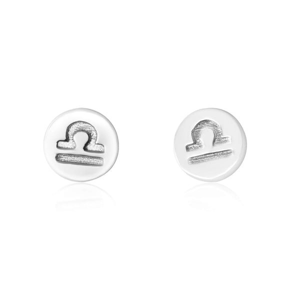 E-7008 Zodiac Disc Stud Earrings - Rhodium Plated - Libra | Teeda