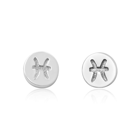 E-7008 Zodiac Disc Stud Earrings - Rhodium Plated - Pisces | Teeda