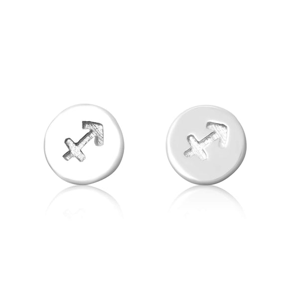E-7008 Zodiac Disc Stud Earrings - Rhodium Plated - Sagittarius | Teeda