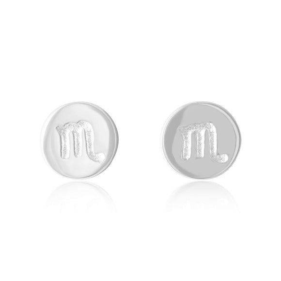 E-7008 Zodiac Disc Stud Earrings - Rhodium Plated - Scorpio | Teeda