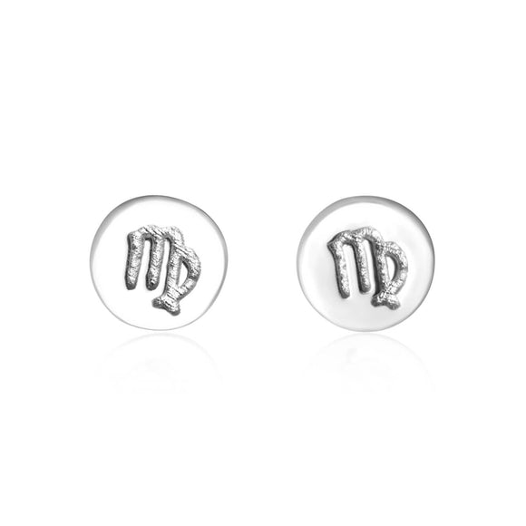 E-7008 Zodiac Disc Stud Earrings - Rhodium Plated - Virgo | Teeda