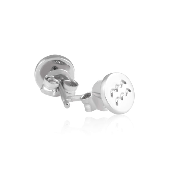 E-7008 Zodiac Disc Stud Earrings - Rhodium Plated | Teeda