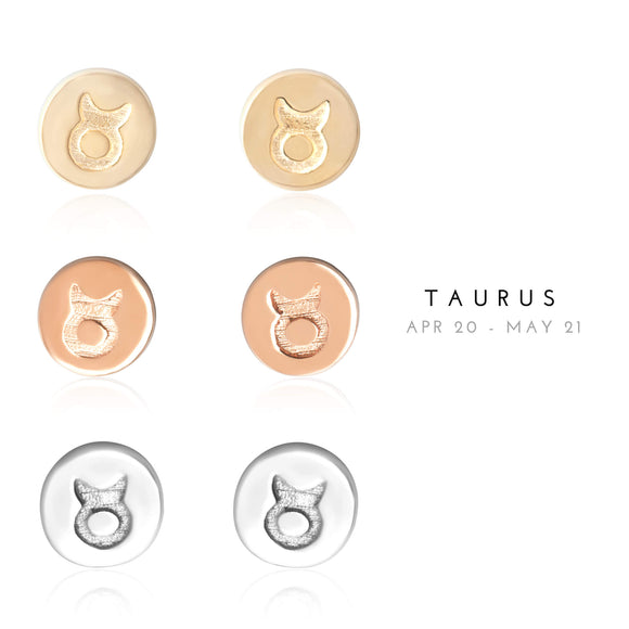 E-7008 Taurus Zodiac Disc Stud Earrings | Teeda