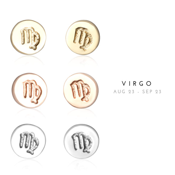 E-7008 Virgo Zodiac Disc Stud Earrings | Teeda