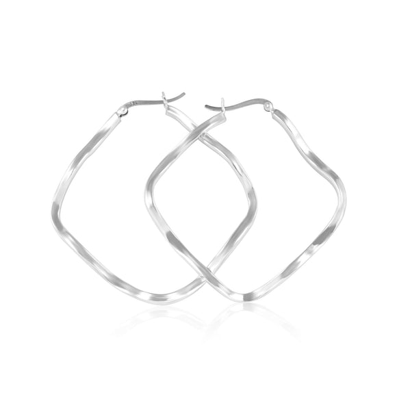 EHS-9000 Square Wave Snap Hoop Earrings | Teeda