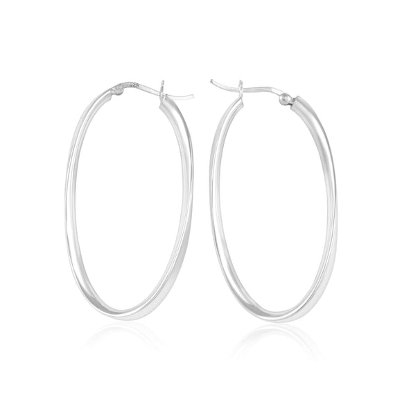 EHS-9006 Oval Wave Snap Hoop Earrings | Teeda