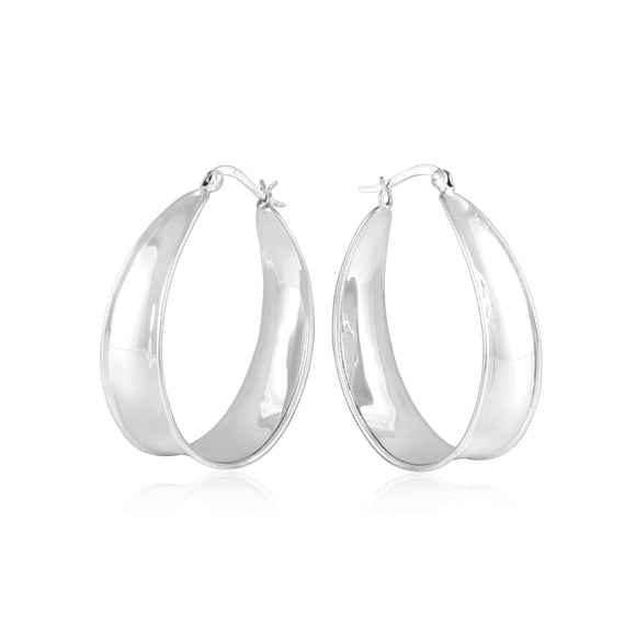 EHS-9008 Oval Wide Curved Snap Hoop Earrings | Teeda