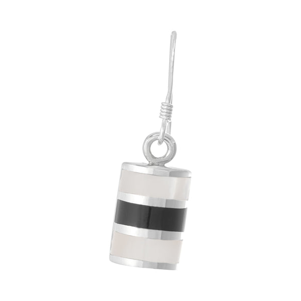 EMOP-1001-PO Mother Of Pearl Inlay Earrings - Mother of Pearl-Black Onyx | Teeda