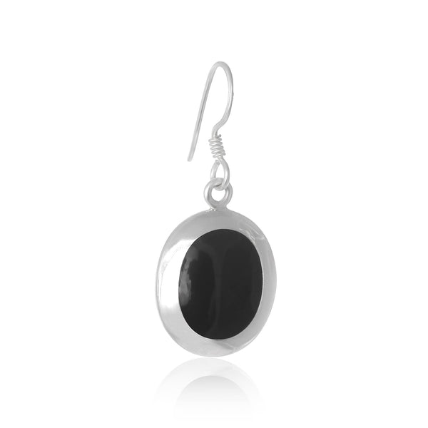 EMOP-1220-O Mother Of Pearl Inlay Earrings - Black Onyx | Teeda