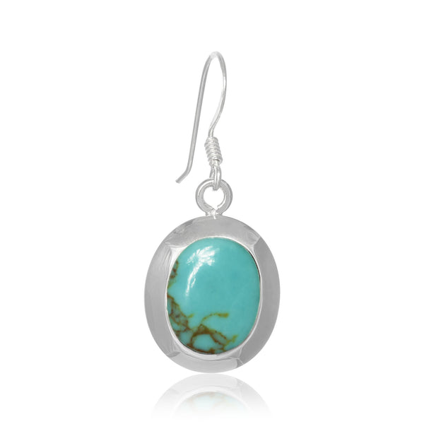 EMOP-1220-T Mother Of Pearl Inlay Earrings - Turquoise | Teeda